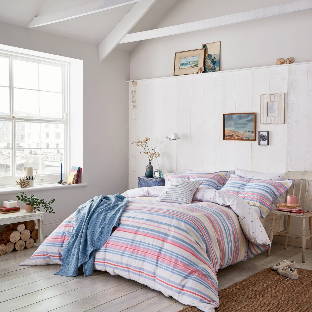 Joules Summer Fruit Stripe Main Bed Hr