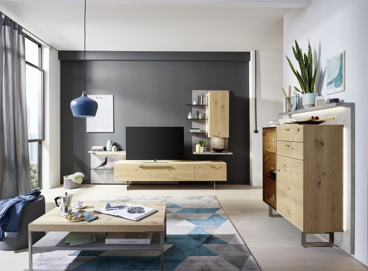 Ld5 And Highboard Ld41 In Natural Oak Timber And Concrete Accents And Coffee Table Ct500 110 In Concrete And Natural Oak Timber