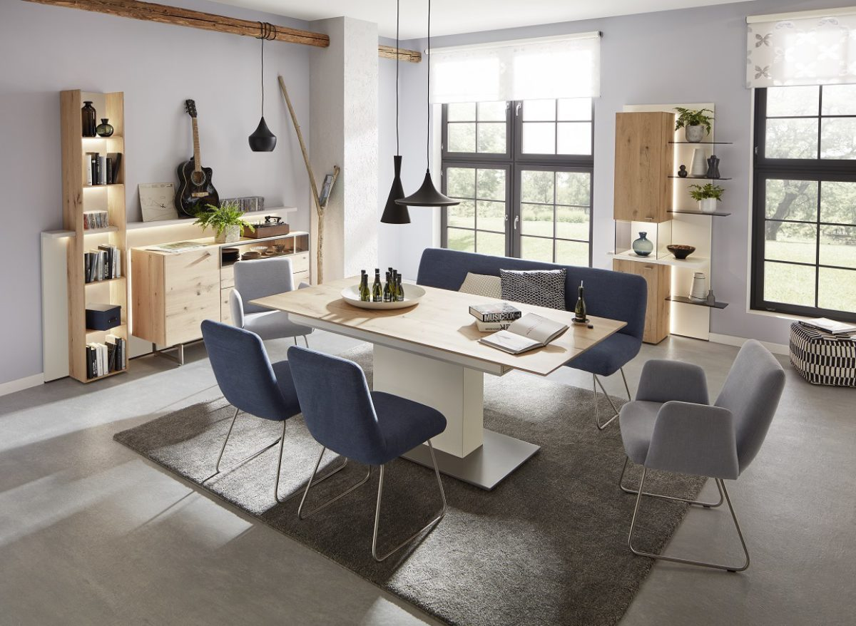 Ld7 Ld22 Et593 200 In Natural Oak Timber And White Lacquer Jessica Chair And Helsinki Bench