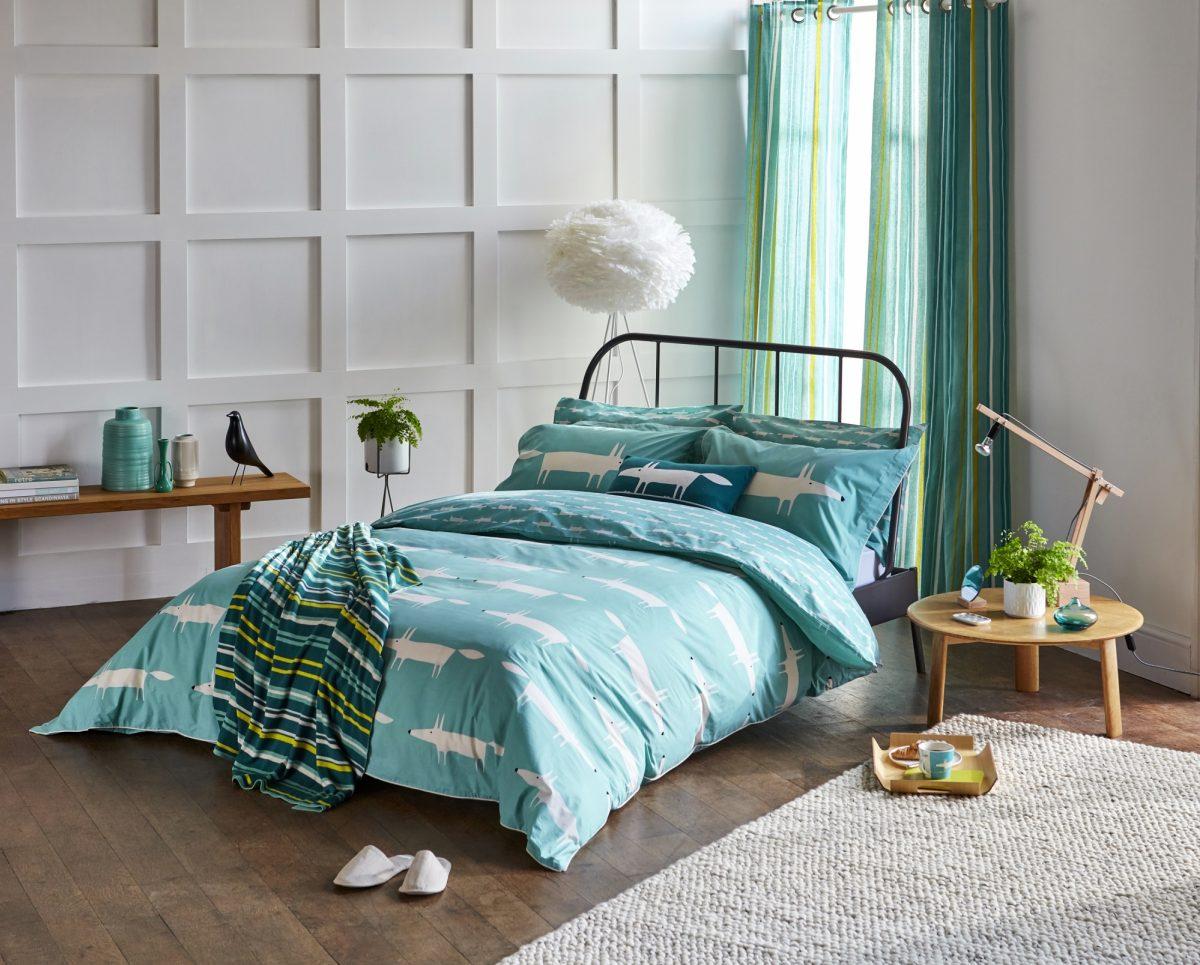 Scion Mr Fox Teal Main Bed W Curtains