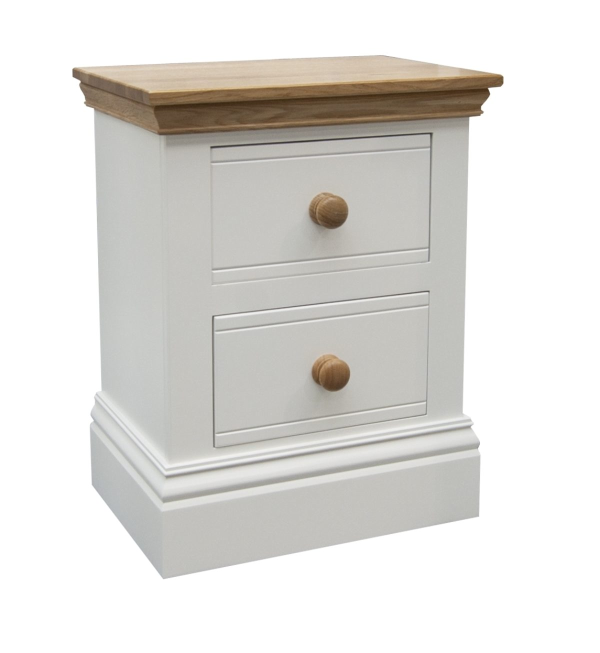 Small 2 Drawer Bedside With Wooden Knobs