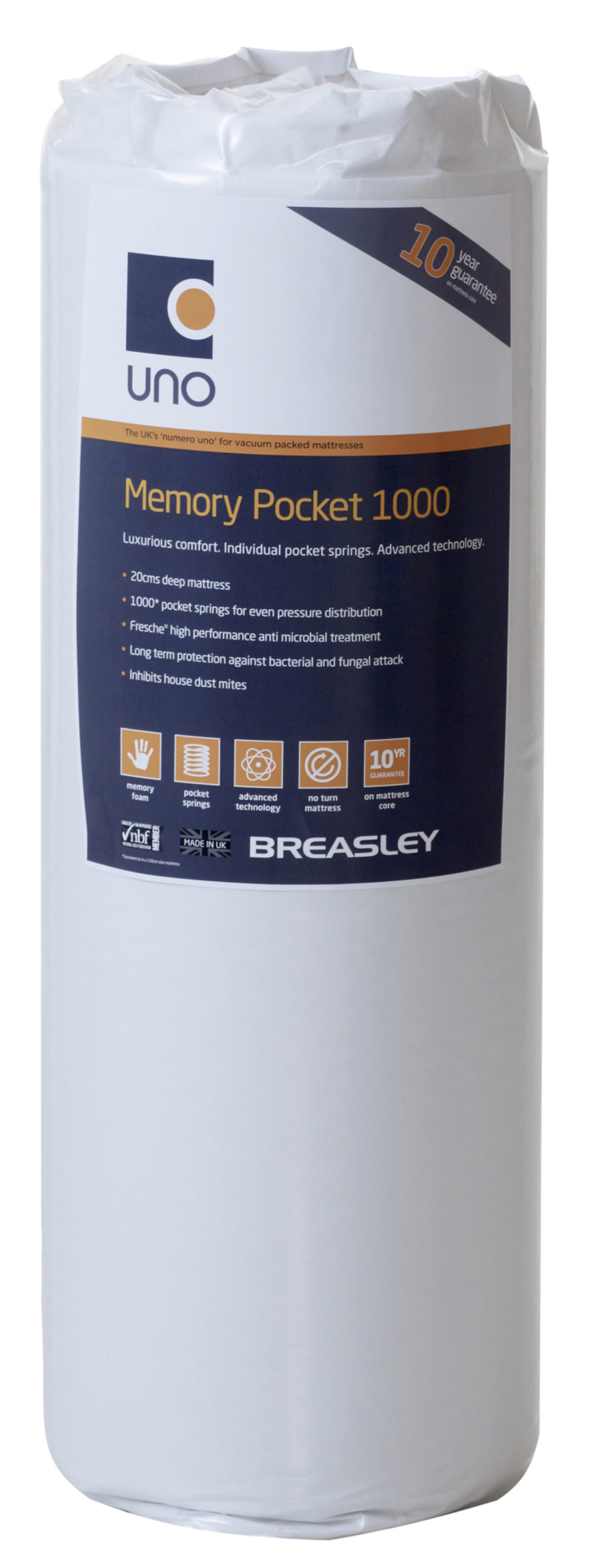 Uno Memory Pocket 1000 Rolled Matt Single Size  Standard Quilt  Without Adaptive Technology