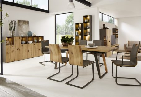 Nl42 Et500 200A 2 X Rh130 Table And Nola Chairs In Taupe Lacquer And Oak